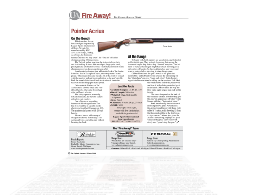 The Pointer Acrius reviewed in the Upland Almanac